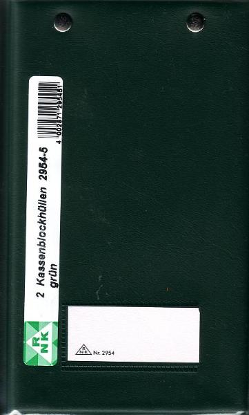 Kassenblockhülle Grün