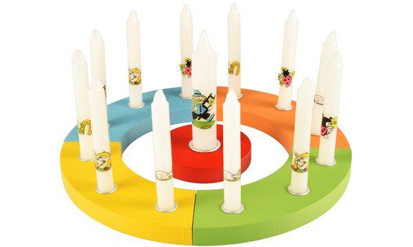 PAPSTAR Kerzenring-Set, aus Holz, farbig