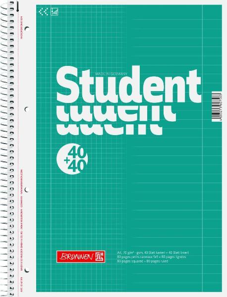 #5x Brunnen Collegeblock Student DUO 40+40 A4 kariert un...