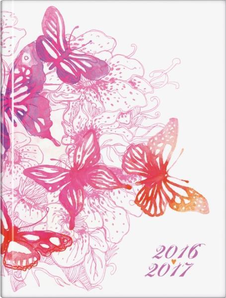 SchülerkalenderA6 Hardcover wattiert Schmetterling