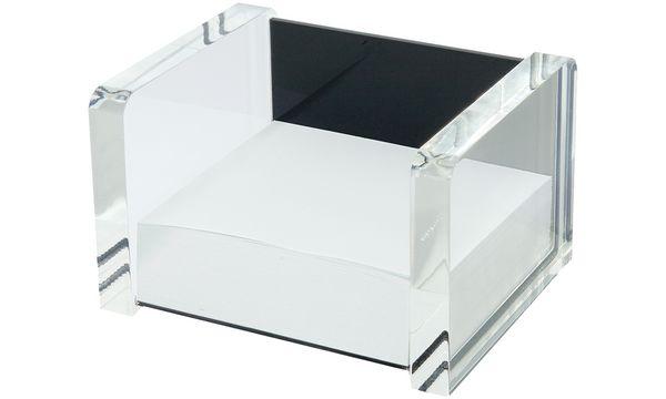 WEDO Zettelbox acryl exklusiv, glasklar/schwarz