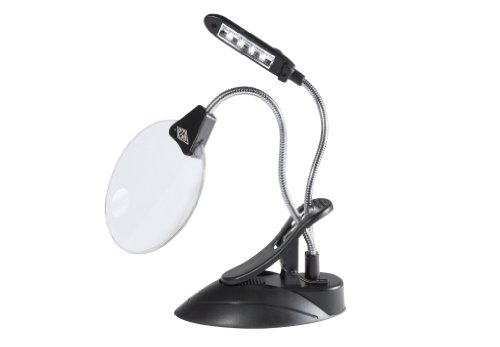 WEDO Tischlupe mit LED-Licht, mit Tischzwinge, schwarz