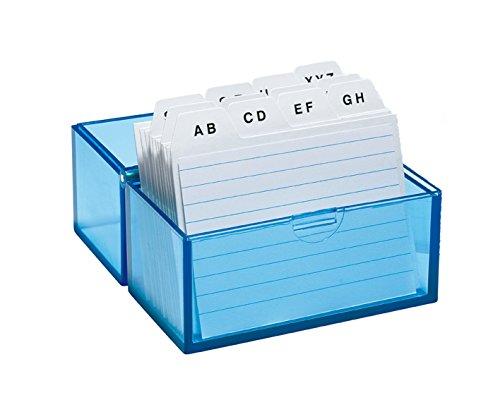 WEDO Karteikasten A8 quer, blau-transparent, bestückt