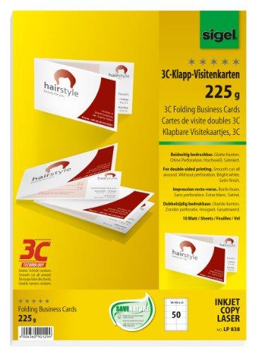 sigel Falt-Visitenkarten 3C, 90/180 x 55 mm, hochweiß