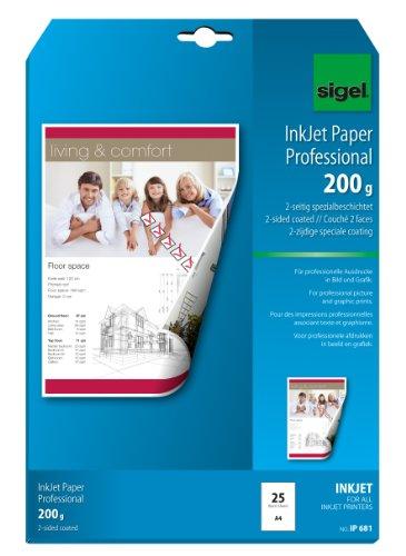 sigel Inkjet-Papier, DIN A4, 200 g/qm, hochweiß, matt