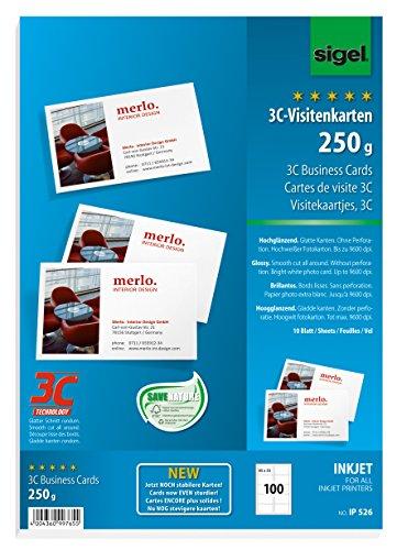 sigel Visitenkarten 3C, 85 x 55 mm, 250 g/qm, hochweiß