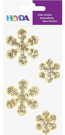 HEYDA Weihnachts-Textilsticker Eiskristall, gold