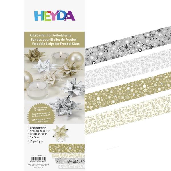 HEYDA Faltpapierstreifen für Fröbelsterne, gold/silber