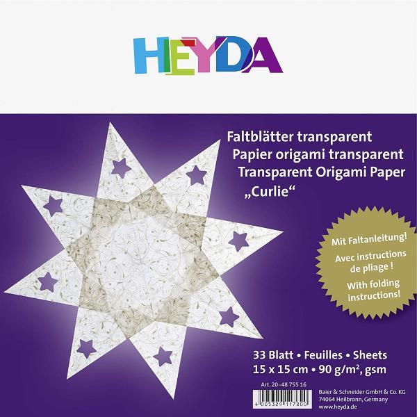 HEYDA Origami Faltblätter transparent Curlie gold