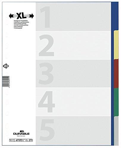 DURABLE Kunststoff-Register, A4, PP, 5-teilig, überbreit