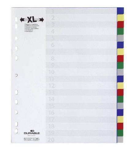 DURABLE Kunststoff-Register, A4, PP, 20-teilig, blanko