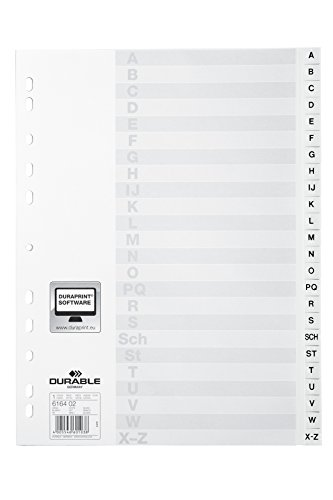 DURABLE Kunststoff-Register, A-Z, A4, 24-teilig, weiß