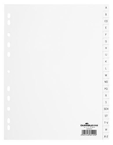 DURABLE Kunststoff-Register, A-Z, A4, PP, 20-teilig, weiß