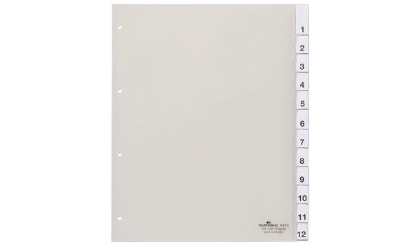 DURABLE Kunststoff-Register, A4, 12-teilig, transparent