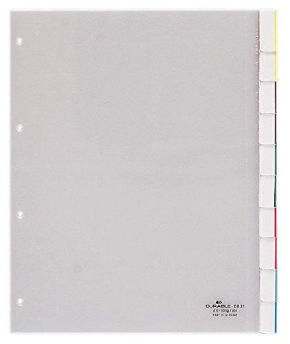 DURABLE Kunststoff-Register, A4, 10-teilig, transparent