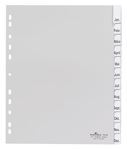 DURABLE Kunststoff-Register, A4, PP, 12-teilig, grau