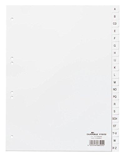 DURABLE Kunststoff-Register, A-Z, A4, 20-teilig, weiß
