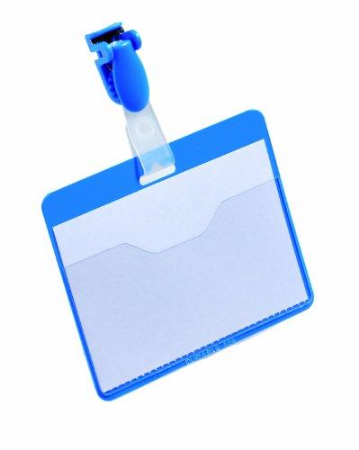 DURABLE Namensschild, oben offen, mit Clip, Rücken: blau
