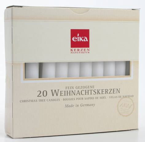 Baumkerze durchgefärbt weiß 20 Stück H105 x D 12,5 mm