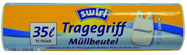 Müll-Beutel antibakteriell mit Tragegriffen - 35 Liter, ...