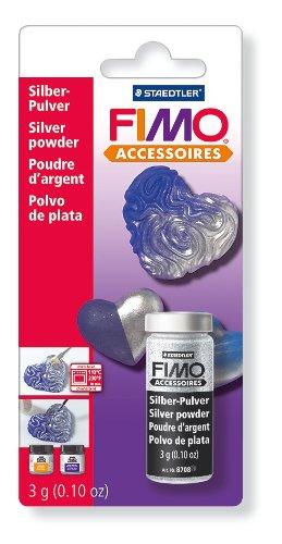 FIMO Metallic-Pulver, silber, 3 g in Glasfläschen