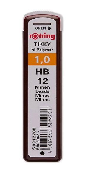 rotring Druckbleistift-Minen Tikky 1,0 mm, Härtegrad: HB