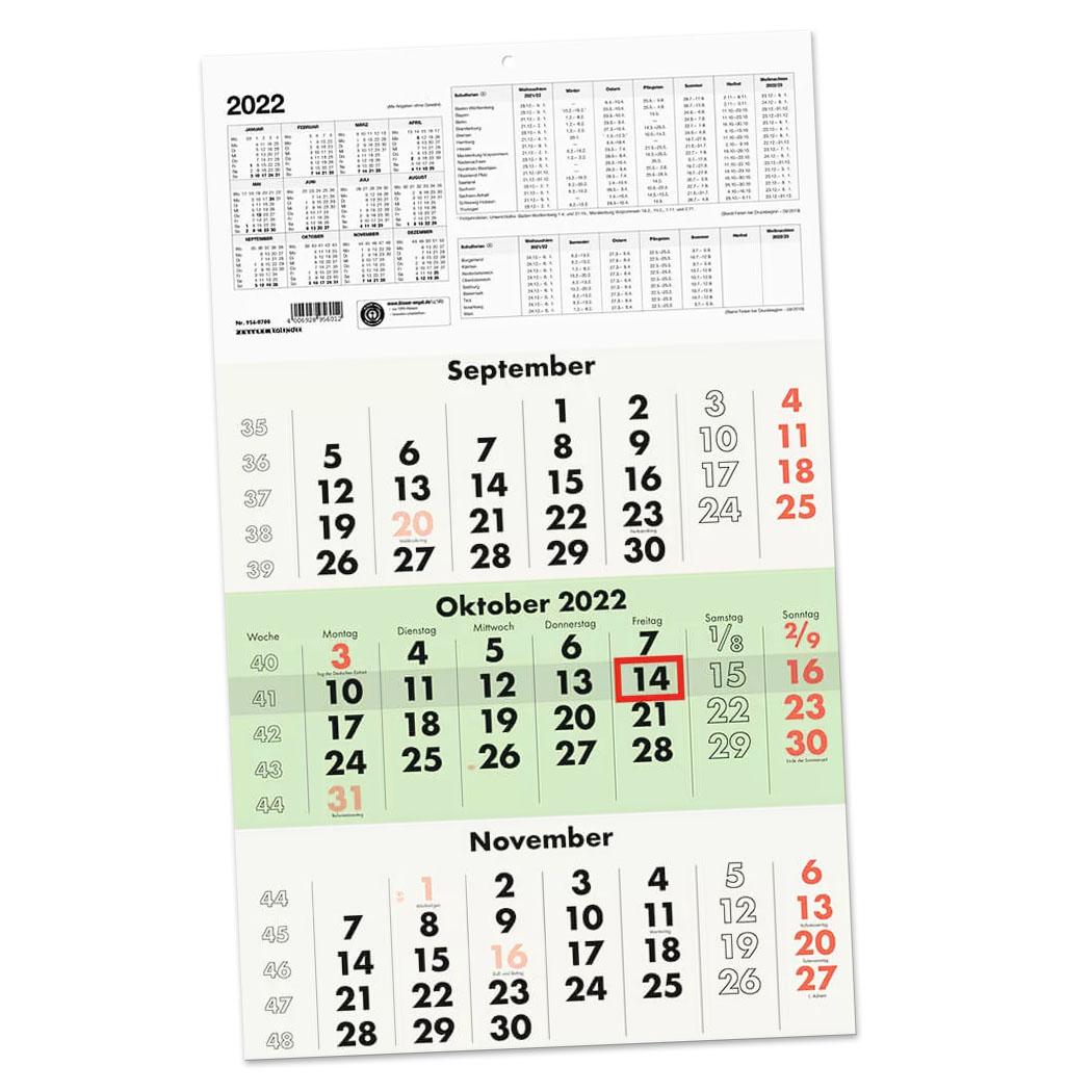 Dreimonatskalender 956 UWS Recycling 295x490mm grün 2022
