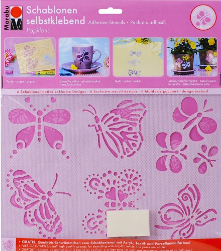 Marabu Motivschablonen-Set Papillons, selbstklebend