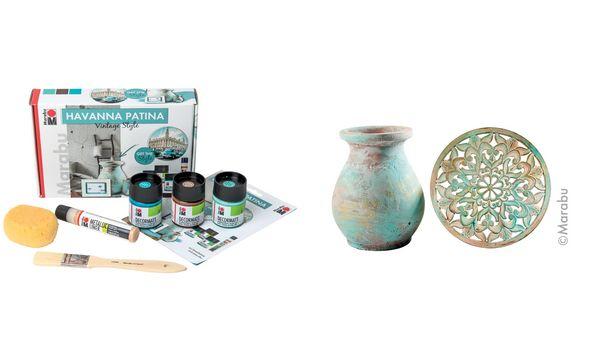 Marabu Acryl-Effektfarbe HAVANNA PATINA, Set Vintage Style