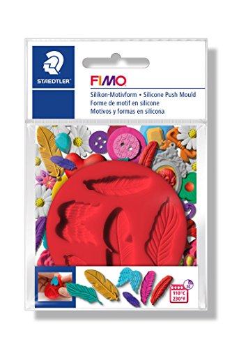 FIMO Silikon-Motiv-Form Feathers, 5 Feder-Motive, rot