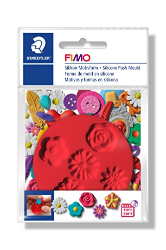 FIMO Silikon-Motiv-Form Flowers, 5 Blumen-Motive, rot