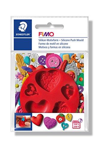 FIMO Silikon-Motiv-Form Hearts, 5 Herz-Motive, rot