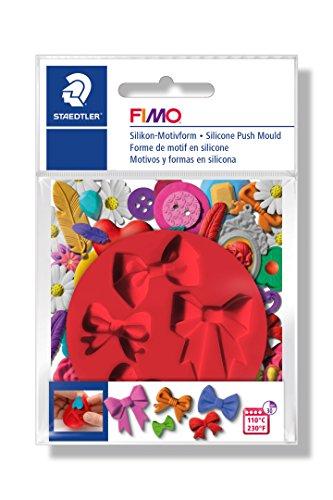 FIMO Silikon-Motiv-Form Bows, 5 Schleifen-Motive, rot