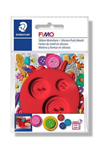 FIMO Silikon-Motiv-Form Buttons, 3 Knopf-Motive, rot
