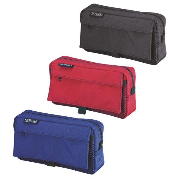 #3xherlitz Stifte-Tasche mit Netztasche, aus Polyester
