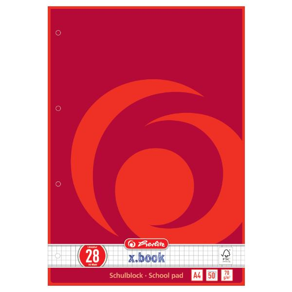 herlitz Schulblock x.book, DIN A4, Lineatur 28 / kariert