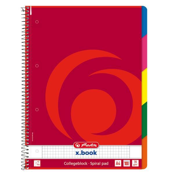 herlitz Collegeblock x.book DIN A4, 100 Blatt, kariert