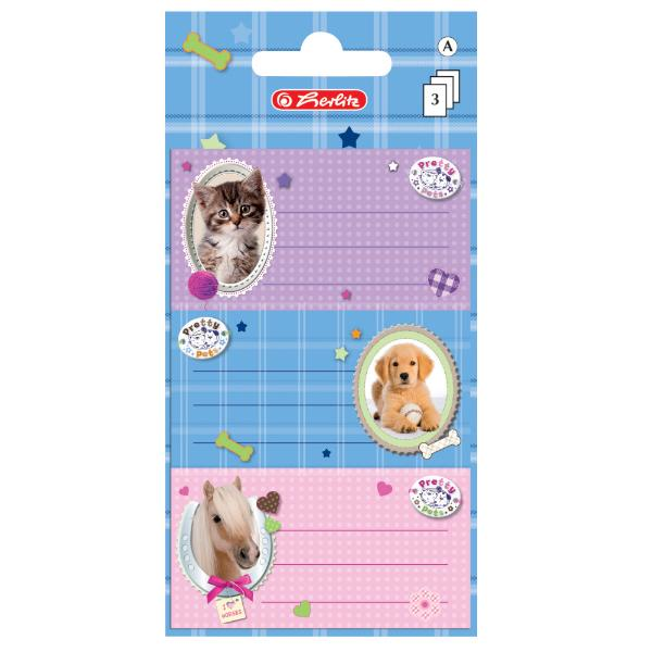 herlitz Buchetiketten Pretty Pets, 78 x 42 mm
