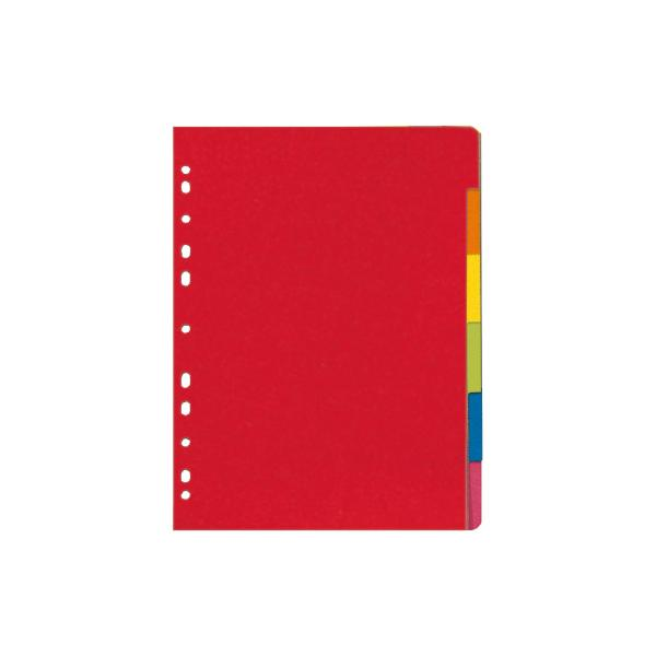 herlitz Karton-Register, blanko, DIN A4, farbig, 6-teilig