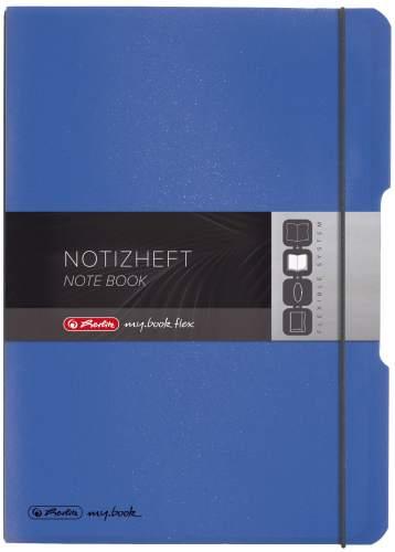 #3xHERLITZ Notizheft A4 2x40Bl k+l blau