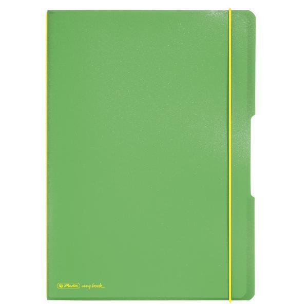 #3xHERLITZ Notizheft A4 2x40Bl k+l h.grün