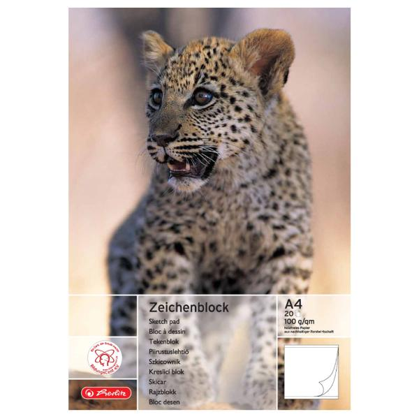 herlitz Zeichenblock DIN A4, 100 g/qm, 20 Blatt
