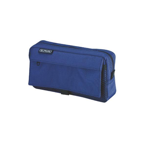 herlitz Stifte-Tasche mit Netztasche, aus Polyester, blau