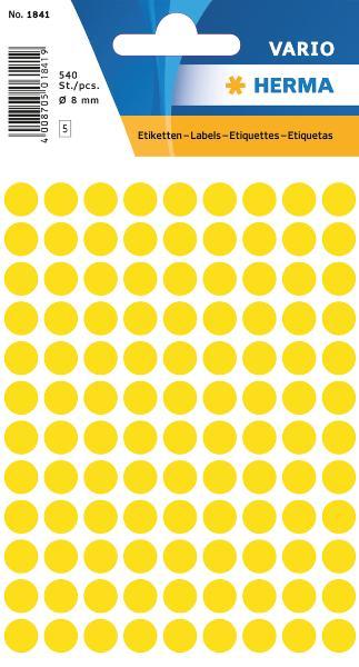 #10xEtiketten D8mm 540ST gelb