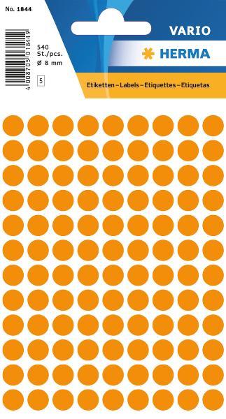 #10xEtiketten D8mm 540ST lorange