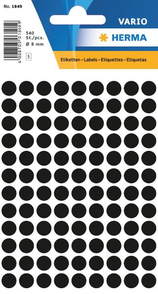 #10xEtiketten D8mm 540ST schwarz