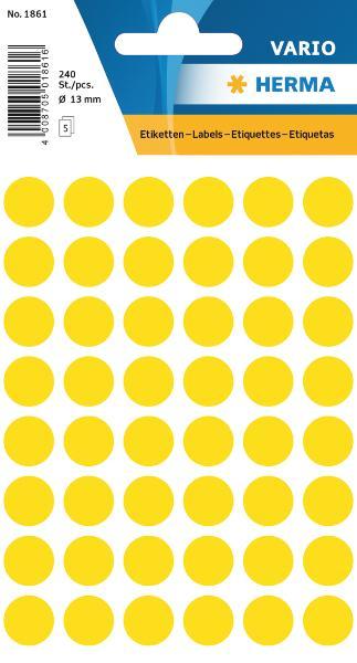 #10xEtiketten D12mm 240ST gelb