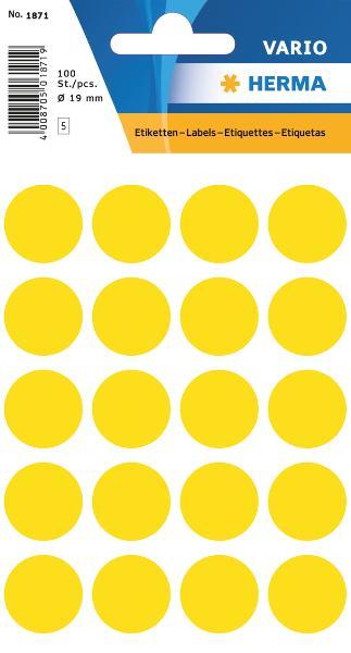 #10xEtiketten D19mm 100ST gelb