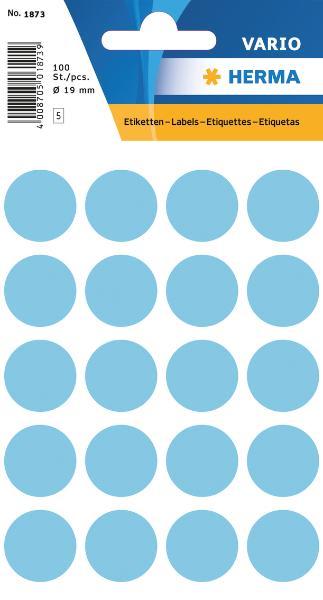 #10xEtiketten D19mm 100ST blau