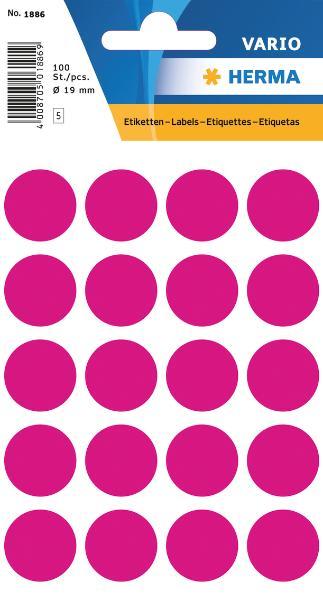 #10xEtiketten D19mm 100ST pink